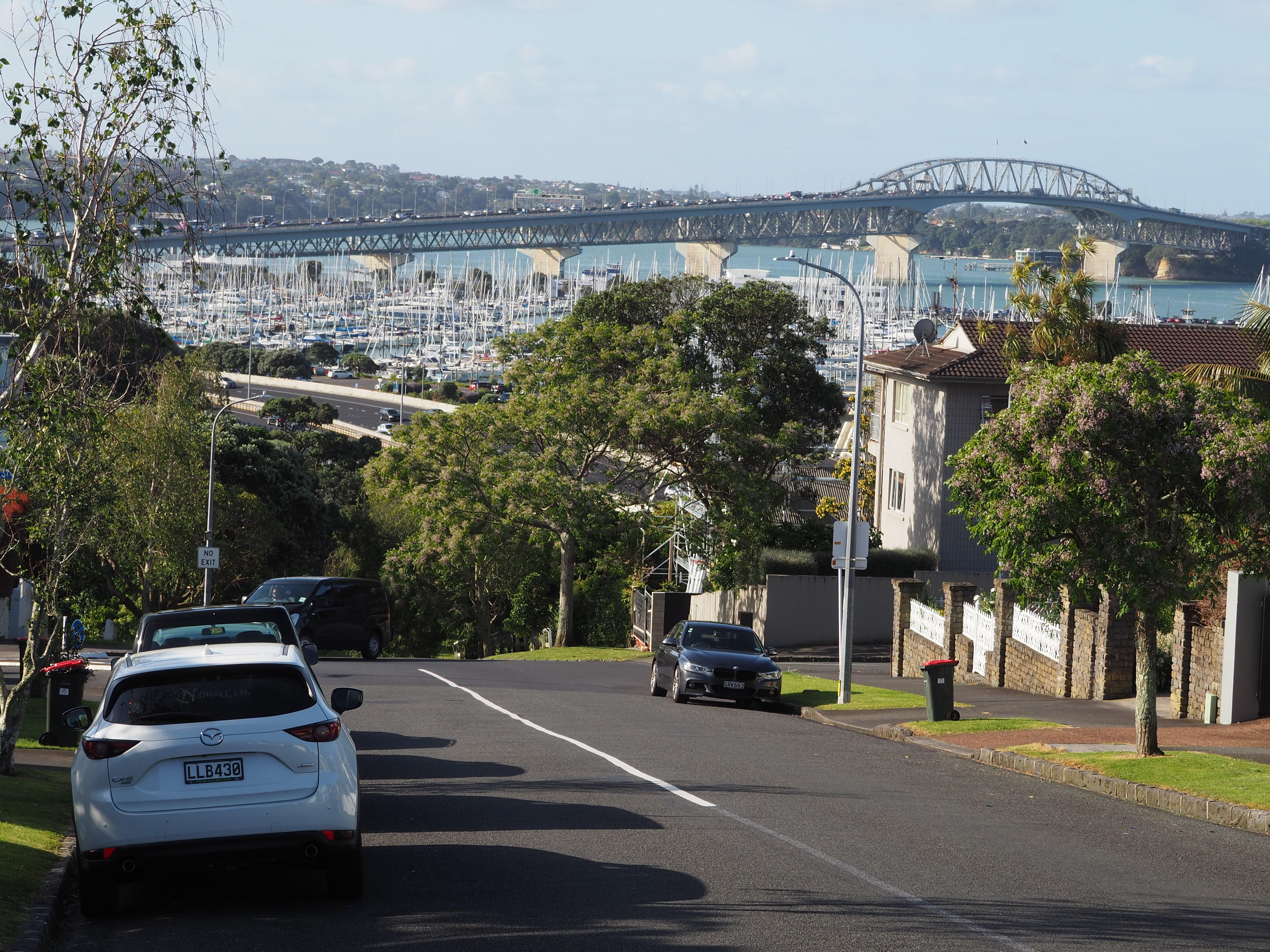 Der Blick von Aucklands Stadtteil Ponsonby in den Hafen